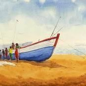 Fishermen 1 by Raktim Chatterjee, Painting, Watercolor on Paper, Beige color
