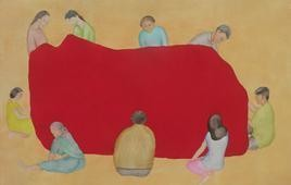 Maternal Cloth by Smita Shinde, Painting, Gouache on Paper, Beige color