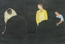 Rhetoric Man 3 by Smita Shinde, Painting, Gouache on Paper, Gray color