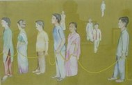 Preferred Stage by Smita Shinde, Painting, Gouache on Paper, Beige color