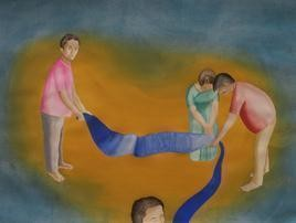 Journey 1 by Smita Shinde, Painting, Gouache on Paper, Brown color