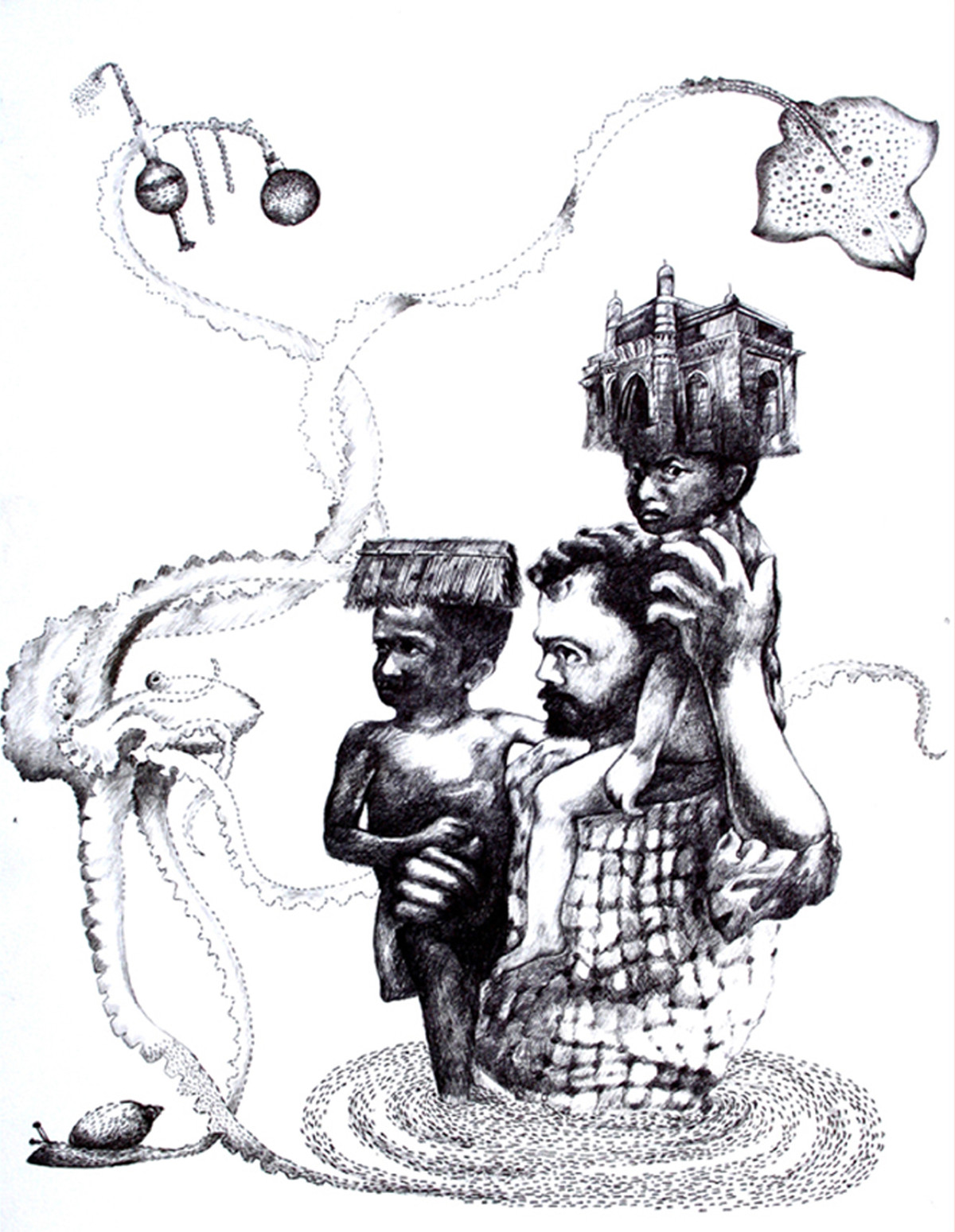 Untitled by Satish Multhalli, Illustration, Illustration Drawing, Ink on Paper, Gray color
