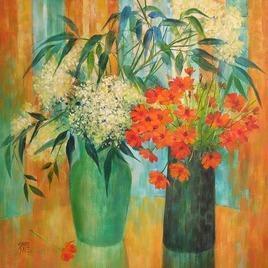 My flowers by Swati Kale, , , Beige color