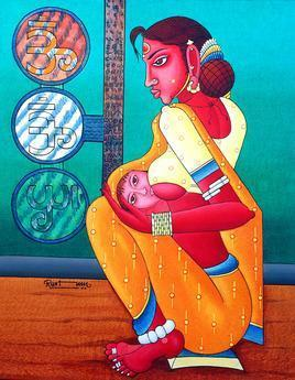 Mother by M D Rustum, , , Cyan color