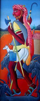 Mekalamallaiah by M D Rustum, , , Blue color