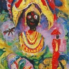 Jagannath by Madhu Dhanuka Jain, Painting, Acrylic on Canvas, Brown color