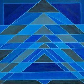 Space - X by S K Sahni, Geometrical, Geometrical Painting, Acrylic on Canvas, Blue color