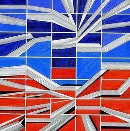 Colour Reflections - XII by S K Sahni, Geometrical, Geometrical Painting, Acrylic on Canvas, Blue color