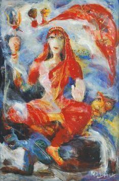Durga by Madhu Dhanuka Jain, Painting, Acrylic on Canvas, Brown color