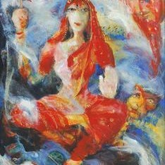 Durga by Madhu Dhanuka Jain, Painting, Acrylic on Canvas, Brown color
