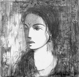 Untitled by Ganesh Patil, Decorative, Decorative Drawing, Charcoal on Canvas, Gray color