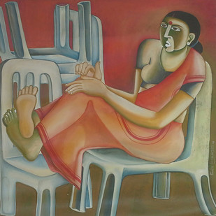 Untitled 05 by Thota Laxminarayana, Traditional, Traditional Painting, Oil on Canvas, Brown color