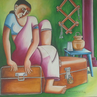 Untitled 06 by Thota Laxminarayana, Traditional, Traditional Painting, Oil on Canvas, Brown color
