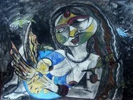 Pregnant Dream 3 by Lipika Bala Chakraborty, Expressionism Painting, Mixed Media on Paper, Blue color