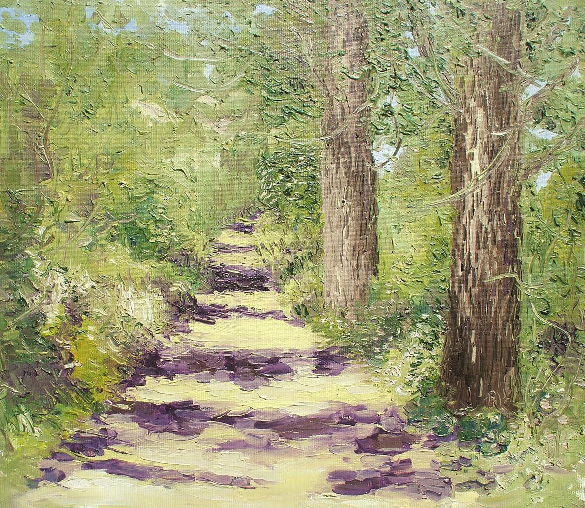 Sunlit Path with Two Populars-V Digital Print by Animesh Roy,Impressionism, Impressionism
