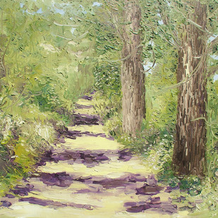 Sunlit Path with Two Populars-V by Animesh Roy, Impressionism, Impressionism Painting, Oil on Linen, Beige color