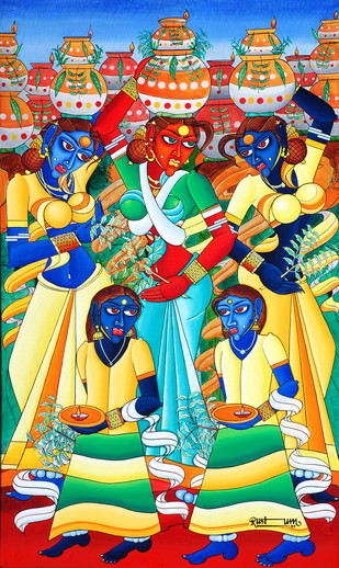 Bonalu by M D Rustum, Painting, Oil on Canvas, Beige color
