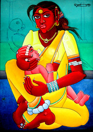 Indian Art by M D Rustum, Painting, Oil on Canvas, Cyan color