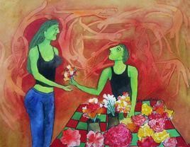 She & The Flower Seller by Sambuddha Duttagupta, Painting, Watercolor on Paper, Brown color