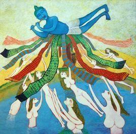 Leela by Sambuddha Duttagupta, Painting, Acrylic on Canvas, Cyan color