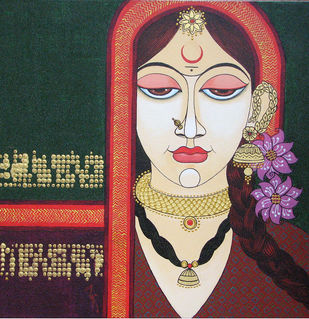 Face - 13 by Varsha Kharatmal, Traditional, Traditional Painting, Acrylic on Canvas, Brown color