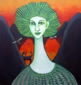 She II by Sambuddha Duttagupta, Art Deco, Art Deco Painting, Oil & Acrylic on Canvas, Green color