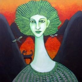 She II by Sambuddha Duttagupta, Art Deco, Art Deco Painting, Oil & Acrylic on Canvas, Green color