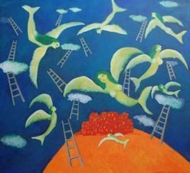Freedom by Sambuddha Duttagupta, Painting, Acrylic on Canvas, Blue color