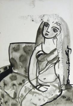 She V by Sambuddha Duttagupta, Painting, Watercolor on Paper, Gray color