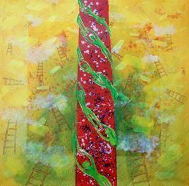 Composition IV by Sambuddha Duttagupta, Painting, Acrylic on Canvas, Beige color