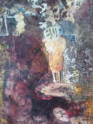 Baby Dream by Sanghpal Chawhan, Fantasy, Fantasy Painting, Mixed Media on Canvas, Brown color