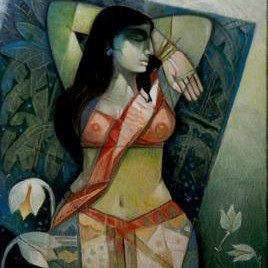 Morning by Arun Kumar Samadder, Painting, Oil on Canvas, Green color