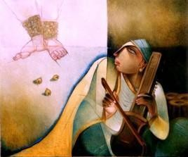 Rhythm Of Melody by Arun Kumar Samadder, Painting, Oil on Canvas, Brown color