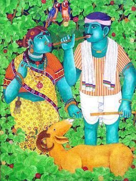 Village Couples by Narahari Bhawandla, Decorative, Decorative Painting, Acrylic on Canvas, Green color