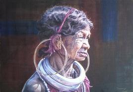 A Bonda Tribes Woman by Chinmaya Panda, , , Blue color