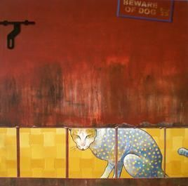 Guard by Sacheen S Khawle, Painting, Acrylic on Canvas, Brown color