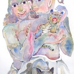 Happy Couple - 2 by Anand Gadapa, Expressionism Painting, Watercolor on Paper, Gray color