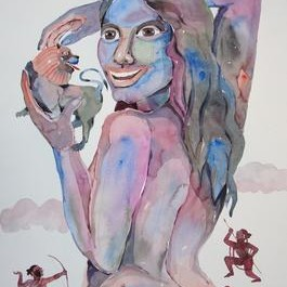 Possessive - 2 by Anand Gadapa, Expressionism Painting, Watercolor on Paper, Gray color