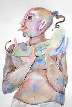 Bheemachari - 2 by Anand Gadapa, Expressionism Painting, Watercolor on Paper, Gray color
