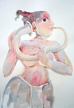 Blowing One's Own Trumpet - 2 by Anand Gadapa, Expressionism Painting, Watercolor on Paper, Gray color