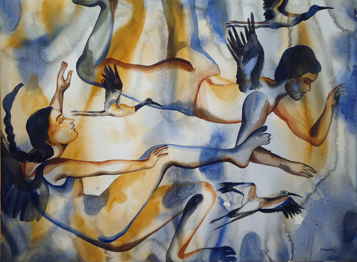 Love Is In The Air (2) by Nirmala Biluka, Impressionism Painting, Watercolor on Paper, Brown color