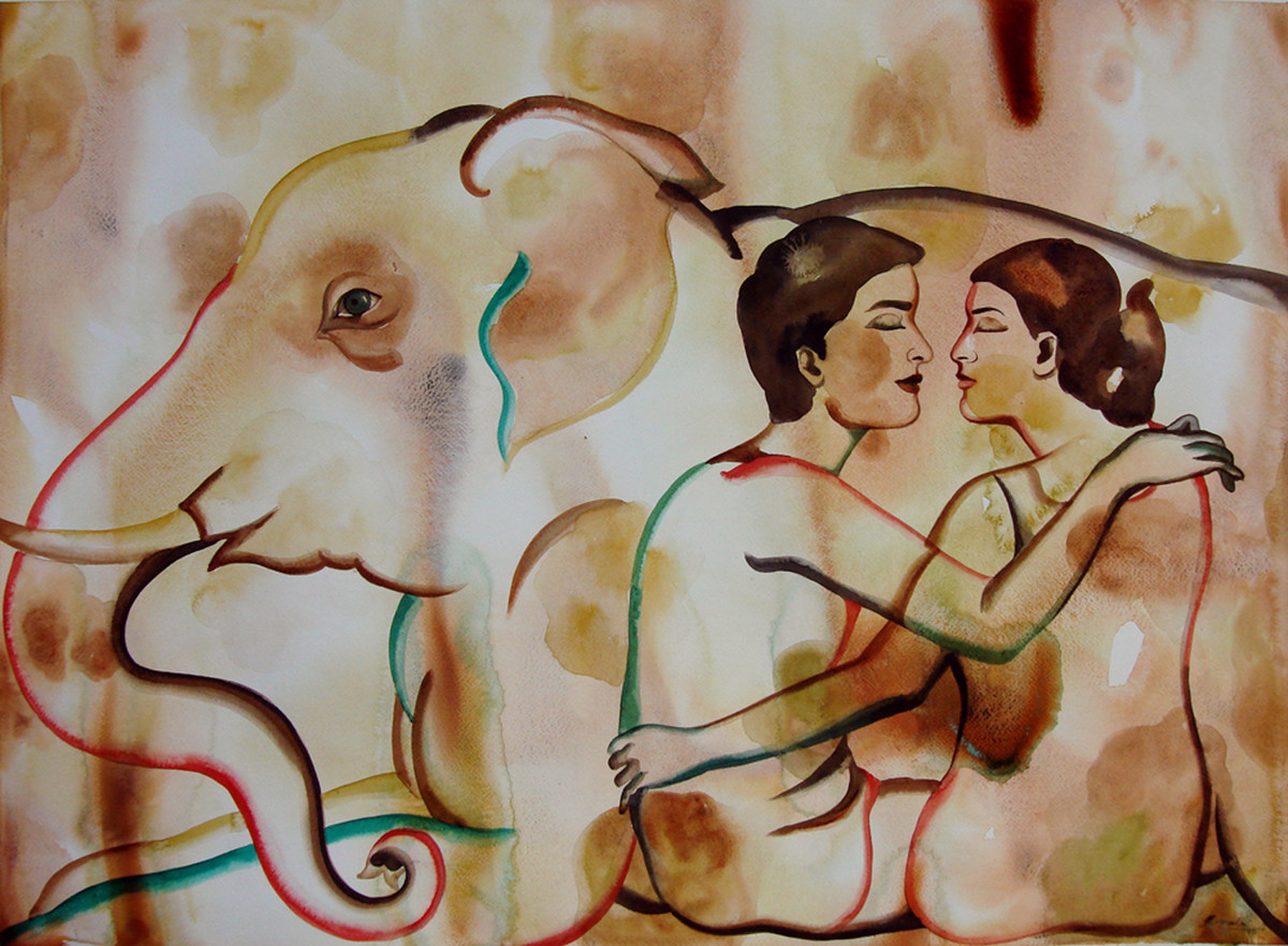Say U Love Me by Nirmala Biluka, Impressionism Painting, Watercolor on Paper, Brown color