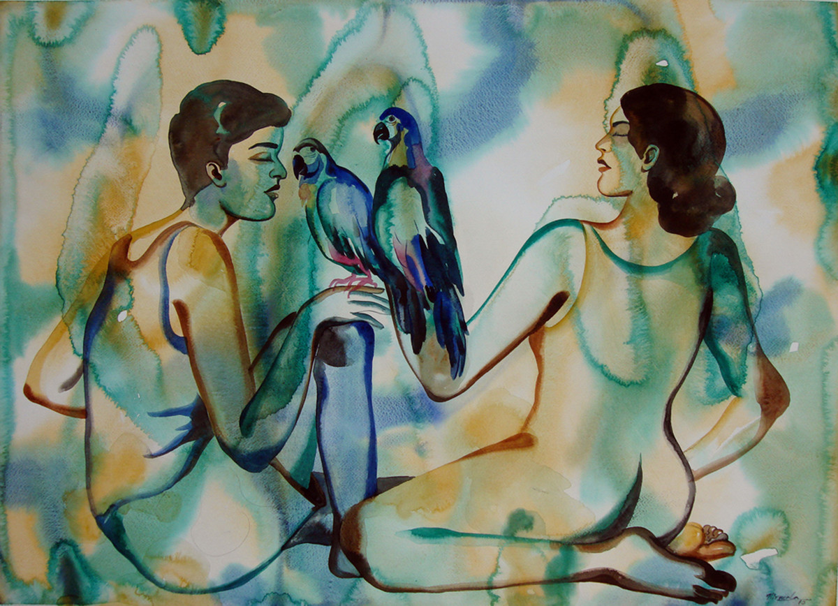 Love Birds by Nirmala Biluka, Impressionism Painting, Watercolor on Paper, Green color