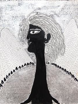She & The Landscape II by Sambuddha Duttagupta, Painting, Mixed Media on Paper, Gray color