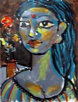 She XVII by Sambuddha Duttagupta, Painting, Acrylic on Paper, Green color