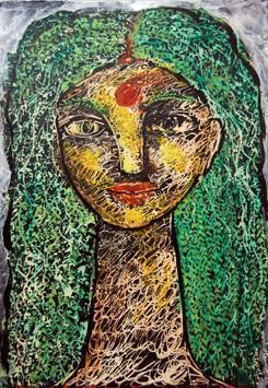 She XVIII by Sambuddha Duttagupta, Painting, Acrylic on Paper, Green color