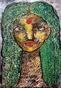 She XVIII by Sambuddha Duttagupta, Painting, Acrylic on Paper, Green color