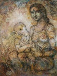 Mother & Child by Rupchand Kundu, Decorative, Decorative Painting, Acrylic on Canvas, Brown color