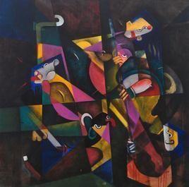 Shakti 1 by Vijay Kale, Cubism, Cubism Painting, Acrylic on Canvas, Gray color