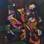 Shakti 1 by Vijay Kale, Cubism, Cubism Painting, Acrylic on Canvas, Gray color
